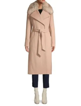 Faux Fur Trimmed Belted Coat by Karl Lagerfeld Paris