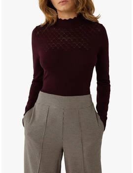 Warehouse Pointelle Jumper, Berry by Warehouse