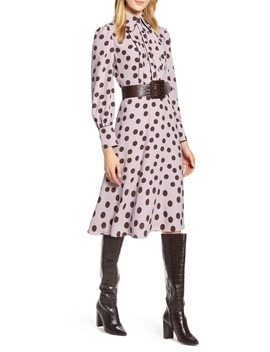 X Atlantic Pacific Button & Pleat Polka Dot Fit & Flare Dress by Halogen®
