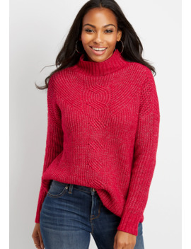 Oversized Cable Knit Mock Neck Pullover by Maurices