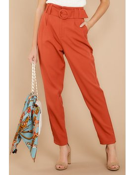Into The Office Coral Orange Pants by Idem Ditto