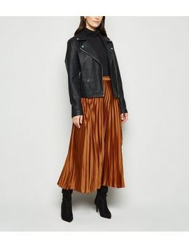 Rust Satin Pleated Wrap Midi Skirt by New Look