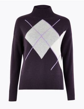 Cashmere Argyle Turte Neck Jumper by Marks & Spencer