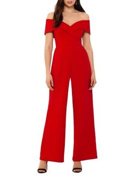Off The Shoulder Sweetheart Crepe Jumpsuit by Xscape