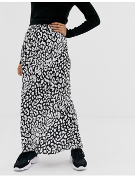 Asos Design Petite Bias Maxi Skirt In Mono Leopard by Asos Design