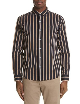 Crosby Satin Stripe Trim Fit Shirt by Saturdays Nyc