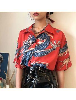 Ronin   Bedrucktes, Kurzärmliges Blusen Shirt Mit Asiatischem Drachenmotiv by Ronin