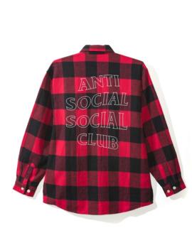 New Anti Social Social Club Trip Flannel Black And Red Check by Anti Social Social Club  ×