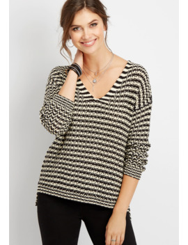 Stripe Open Stich Pullover by Maurices