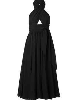 Cutout Silk Chiffon Halterneck Midi Dress by Alaïa