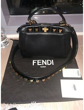 Fendi Peekaboo Mini Studded Leather Satchel Bag Black / Gold by Fendi