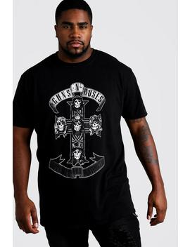 Big And Tall Guns 'n' Roses Cross License T Shirt by Boohoo