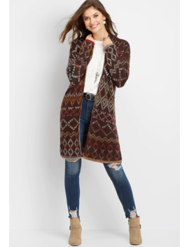 Reversible Southwest Open Front Duster Cardigan by Maurices