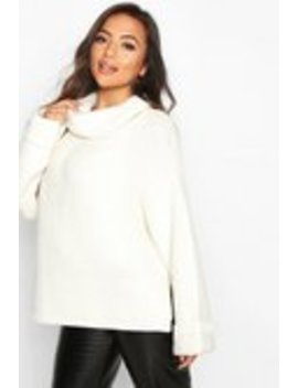 Petite Cowl Neck Oversized Jumper With Split Side Seam Petite Cowl Neck Oversized Jumper With Split Side Seam by Boohoo