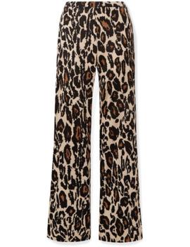 Caspian Leopard Print Silk Jersey Flared Pants by Diane Von Furstenberg
