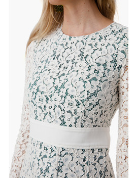 New Ivory Pleated Lace Dress by Tory Burch