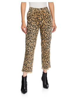 Loverboy Leopard Print Relaxed Cropped Straight Jeans by Amo Denim