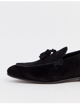 H By Hudson   Bolton   Loafers Met Kwastjes Van Zwart Suede by Hudson London
