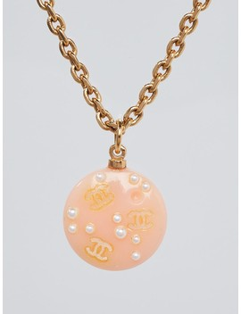 Peach Resin And Faux Pearl Pendant Necklace. by Chanel