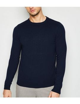 Navy Long Sleeve Crew Jumper by New Look