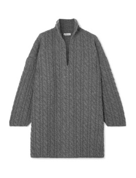 Oversized Cable Knit Wool Sweater by Balenciaga