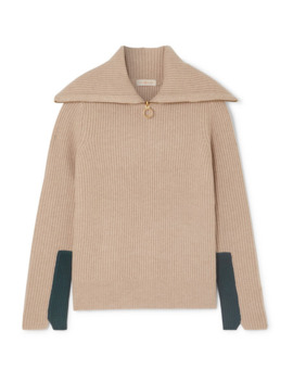 Two Tone Ribbed Wool Blend Sweater by Tory Burch