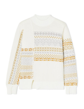 Asymmetric Patchwork Metallic Fair Isle Wool Blend Sweater by 3.1 Phillip Lim