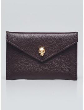 Burgundy Leather Skull Envelope Card Holder by Alexander Mc Queen