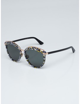 Multicolor Acetate And Metal Offset 2 Sunglasses by Christian Dior