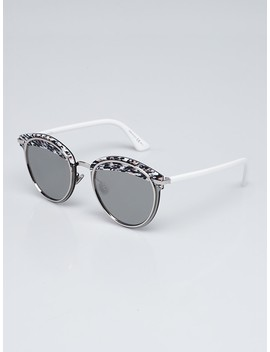 White/Black/Pink Acetate And Metal Offset 1 Sunglasses by Christian Dior