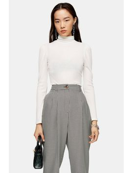 Cream Long Sleeve Puff Funnel Neck Top by Topshop