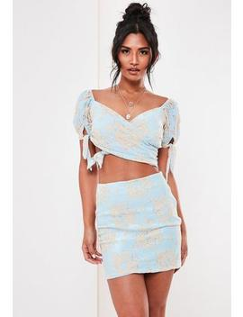 Blue Co Ord Lace Wrap Bardot Top by Missguided