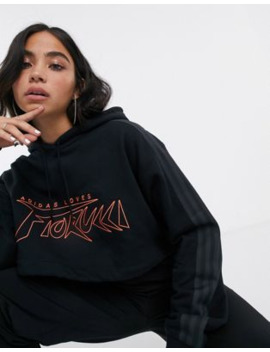 Adidas Originals X Fiorucci Cropped Hoodie In Black And Red by Adidas