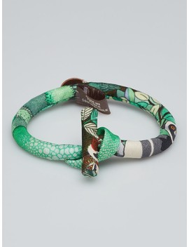 Green Printed Silk Petite H Double Knot Bridle Bracelet by Hermes