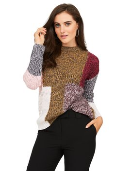 Long Sleeve Patchwork Crew Neck Sweater by Suzy Shier
