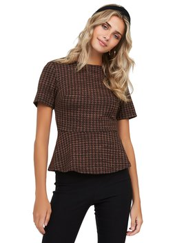 Houndstooth Jacquard Knit Peplum Top by Suzy Shier