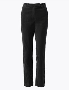 Mia Velvet Slim Ankle Grazer Trousers by Marks & Spencer