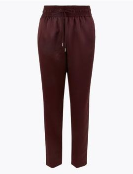 Satin Tapered Leg Ankle Grazer Joggers by Marks & Spencer