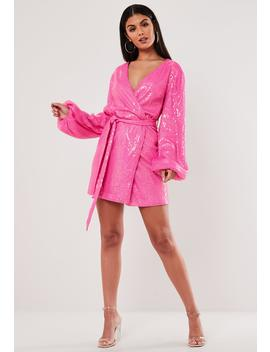 Pink Sequin Wrap Balloon Sleeve Mini Dress by Missguided