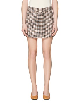 Check Linen Blend Miniskirt by Suistudio
