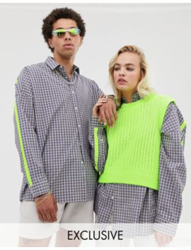 Collusion Unisex Oversized Check Shirt With Fluro Taping by Collusion