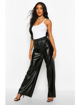Wide Leg Seam Detail Leather Look Trousers by Boohoo