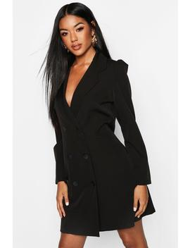 Puff Sleeve Double Breasted Dress by Boohoo