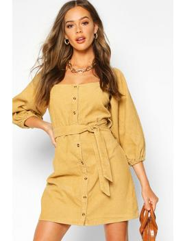 Balloon Sleeve Square Neck Cord Dress by Boohoo