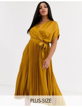New Look Curve Pleated Satin Dress In Mustard by New Look