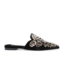 Urtin Embellished Velvet Slippers by Alice + Olivia