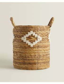 Diamond Design Basket With Handles  Baskets   Living Room by Zara Home