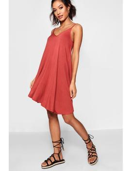 Basic V Neck Swing Dress by Boohoo