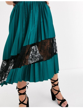 Outrageous Fortune Plus Lace Insert Pleated Midi Skirt In Green by Outrageous Fortune's