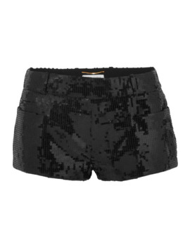 Sequined Wool Shorts by Saint Laurent